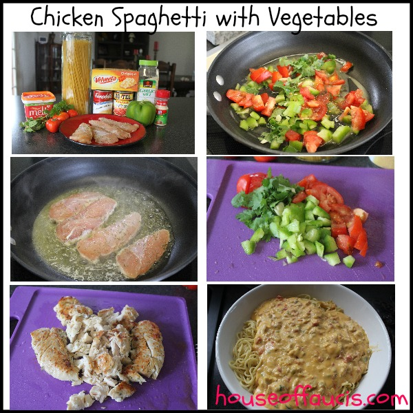Chicken Spaghetti with Vegetables Prep