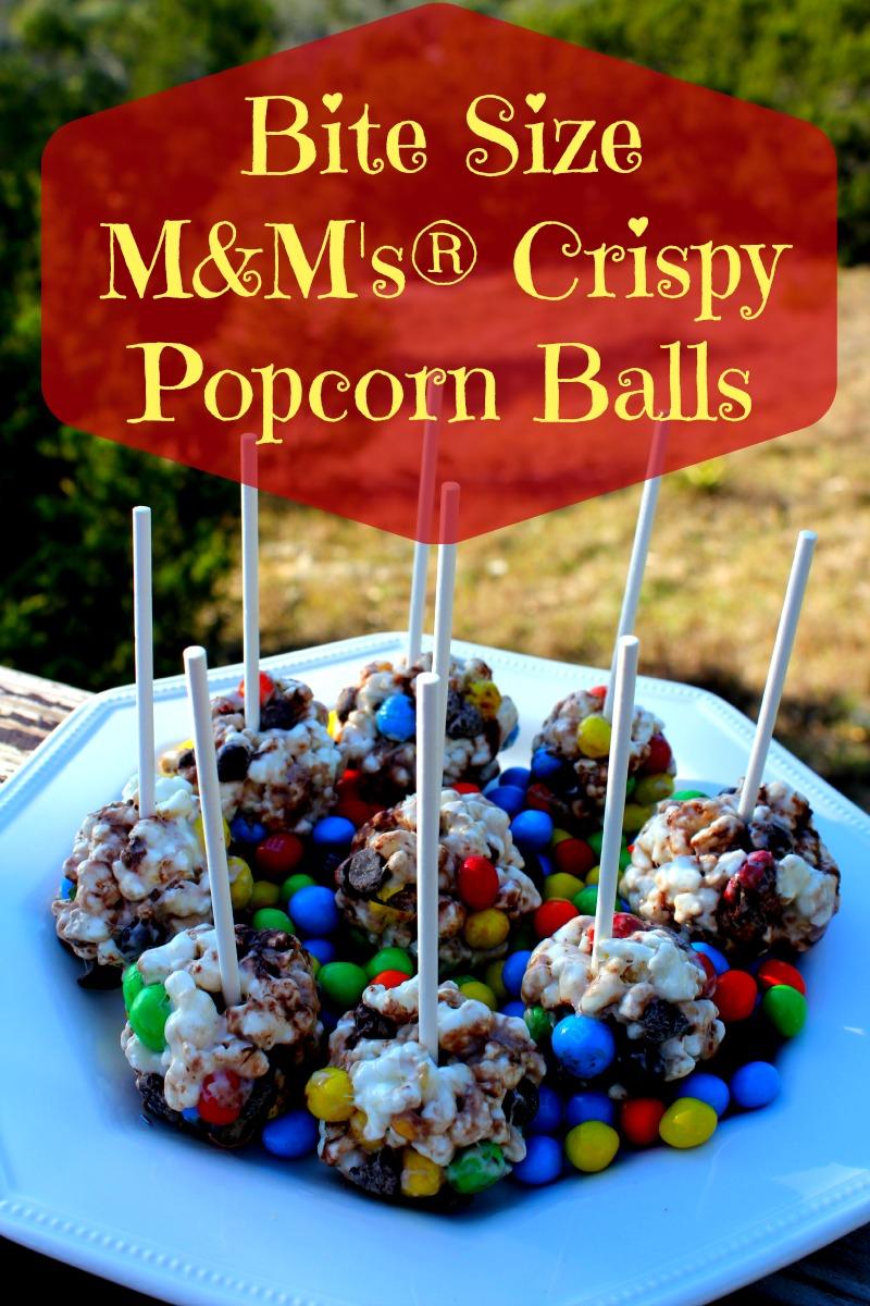 Bite Size M&M's Crispy Popcorn Balls