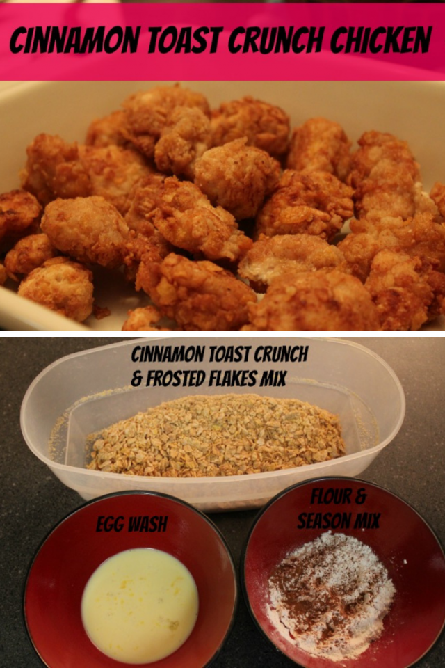 Cinnamon Toast Crunch is our favorite cereal so we knew that coating chicken with it would taste fabulous.