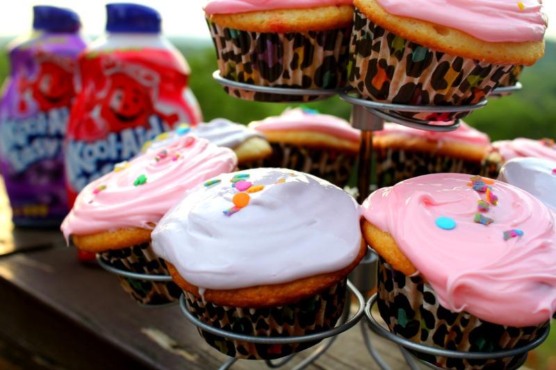 Kool-Aid Mix Poke Cupcakes