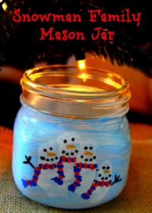 Snowman Family Mason Jar
