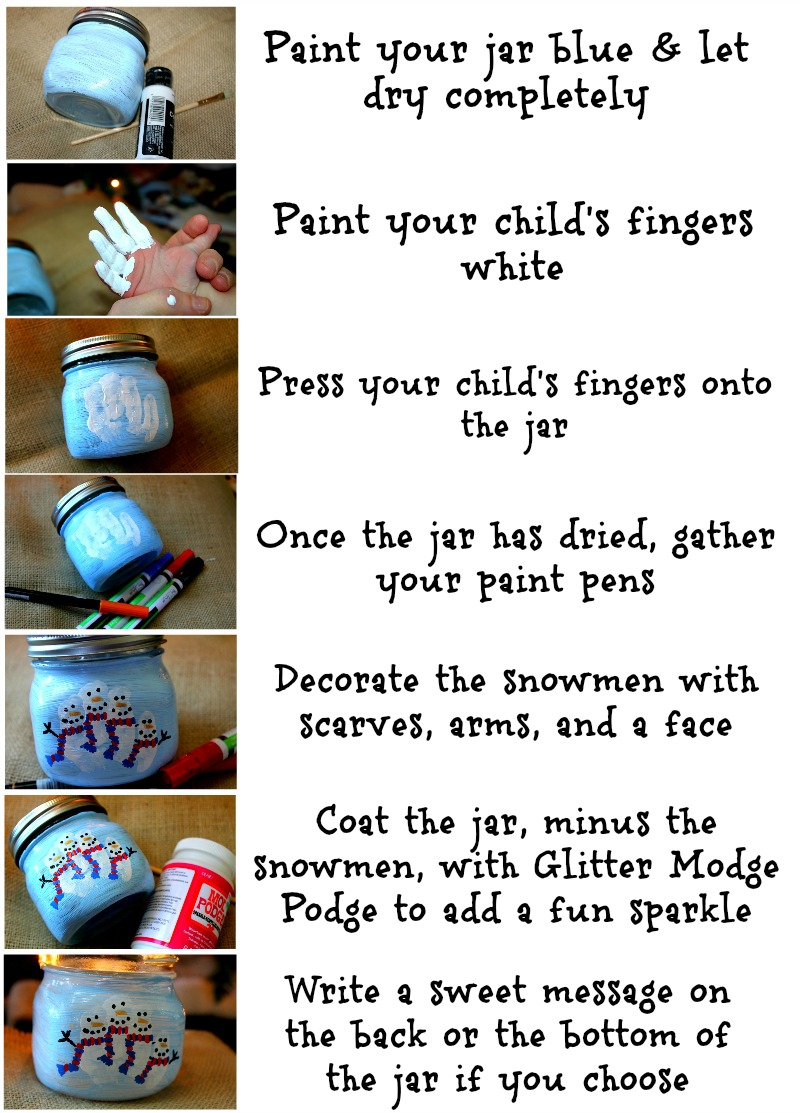 Snowman Family Mason Jar Steps