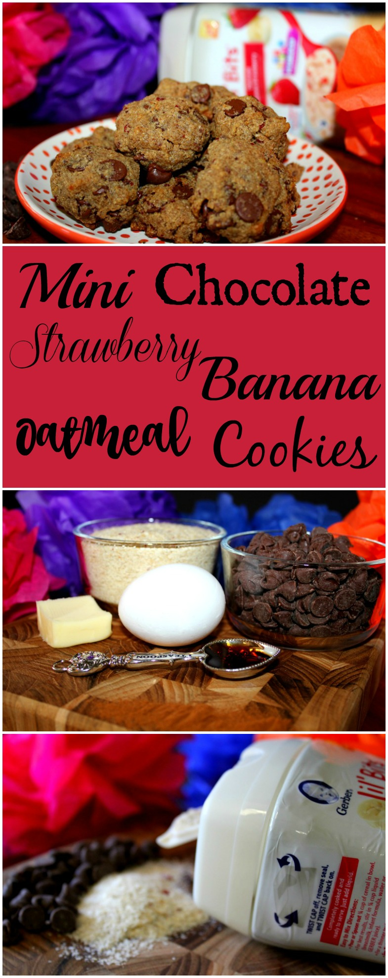 Mini Chocolate Strawberry Banana Oatmeal Cookies Perfect for Little Hands