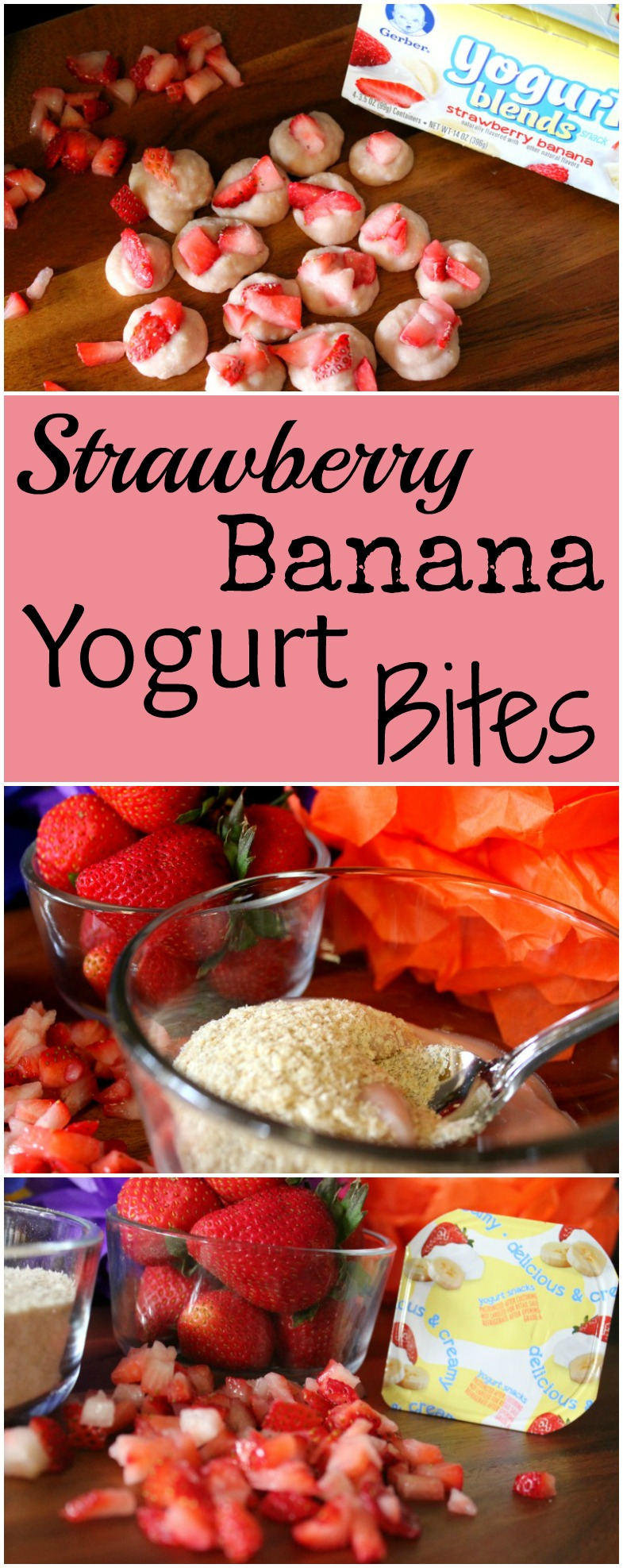 Strawberry Banana Yogurt Bites for Little Hands Made with Gerber Cereal
