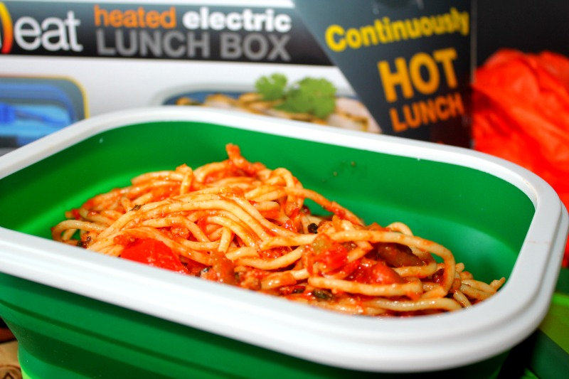Collapsible Plug In Heated Meal Kit with Spaghetti
