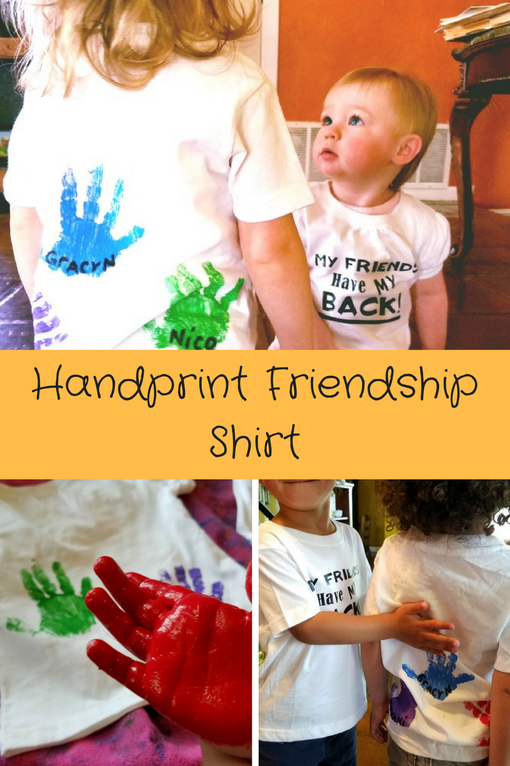 The perfect handprint shirt for friends.