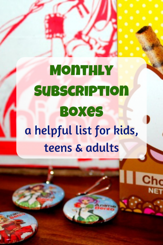 There are a lot of monthly subscription boxes to choose from. The variety of boxes amaze me and I can't seem to keep up with them, so I decided to make a list of some of my families favorite monthly subscription boxes and a few that we've never tried but want to try.