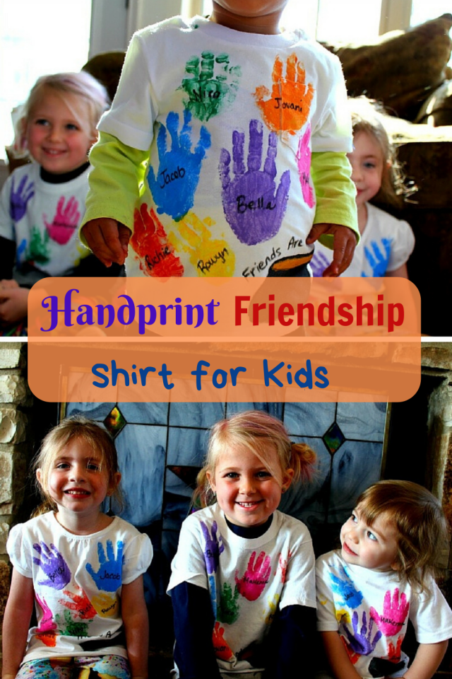The perfect handprint shirt for play groups, daycares, and school. It is the perfect shirt to show the friendships of each class.