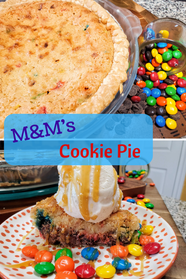This M&M's Cookie Pie Recipe is a cookie in a pie and it tastes delicious. It is easy to make and your family will love it.