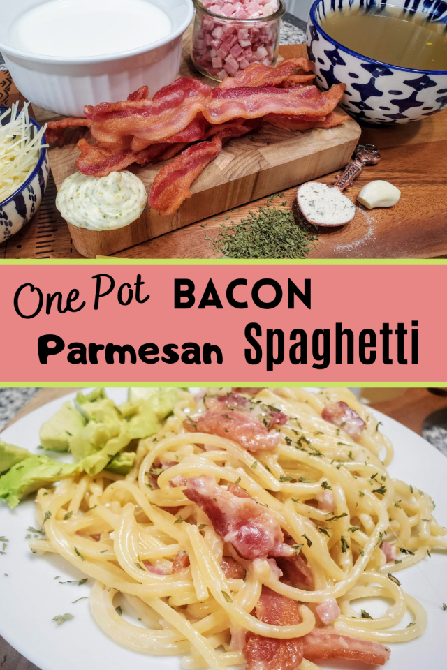 One Pan Bacon Parmesan Spaghetti is my new favorite pasta dish. It is an amazing and easy recipe to make your family especially during these busy and hectic times.